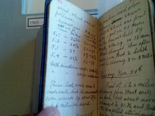 Flight (open, literally) notebook of the Wright Brothers' first flights.
