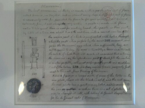 Some notes about a spaghetti press written by Thomas Jefferson.